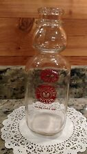 VINTAGE 1-QUART THATCHER FARM DAIRY MILTON,MA. CREAM TOP GLASS MILK BOTTLE