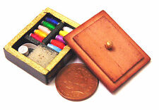 1:12 Scale Wooden Brown Sewing Box & Contents Dolls House Miniature Accessory
