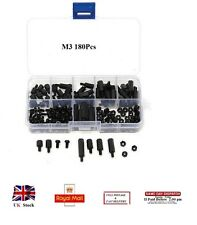M3 180Pcs Nylon Black Spacers Screw Nuts Hex M-F Stand off Assorted Kit Box RC