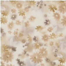coupon tissu patchwork japonais Daiwabo fleurs brunes fond beige 24x55cm