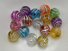 200 Mixed Color Sparkling Spiral Silver Dots Acrylic Round Beads 8mm Spacer
