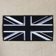 UNION JACK UK FLAG EMBROIDERY IRON ON PATCH BADGE #BLACK WITH WHITE