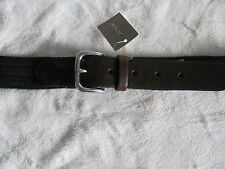 J.Crew Black Cotton Web Belt-with Brown Leather Tabs-Silver Buckle-Size 40- NWT