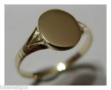 KAEDESIGNS GENUINE FULL SOLID NEW 9CT 9K YELLOW GOLD OVAL SIGNET RING 227
