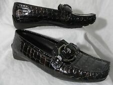 Stuart Weitzman Download Croco Moc Loafer M 7 Black Patent Leather Faux Skin