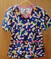 Disney Women's Size S Small Blue Pink Winnie The Pooh Scrub Top Floral D4100 EUC