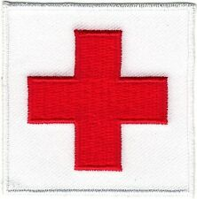 Traditional Red on White Medic Red Cross Paramedic Patch Iron on Sew on