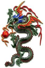 DRAGON green w/ red ball EMBROIDERED IRON-ON PATCH **FREE SHIP** d 16132 kung fu