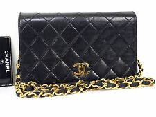 Authentic CHANEL GHW Black Lamb Leather Vintage Quilted Shoulder Bag W19 Q470