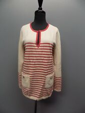 TORY BURCH NWT Odessa Red And Cream Striped Thin Knit V Neck Tunic Sz M 1697A