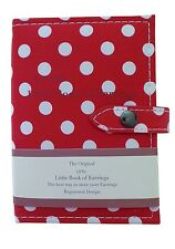 Small Little Book Of Earrings Red Polka Dot 2 Page Jewellery Box Travel Gift