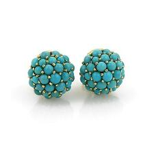 Vintage 18k Yellow Gold Turquoise Dome Cluster Post Clip Earrings
