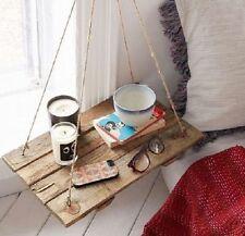 Mensola comodino vintage in legno massello altalena con corde in Juta