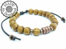 BROWN & COPPER WOOD SURFER MALA YOGA PRAYER STYLE BEADED BRACELET WRIST CUFF