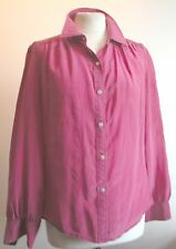 "CLASSIC VINTAGE 'LINEA' PINK 100% SILK BLOUSE WITH MOP BUTTONS B 38""UK 10"