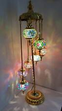 Turkish Floor Lamp, Hand Made 7 Glass and 'GOLD' Moroccan Mosaic Glass Light