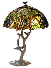 """Tiffany Style Stained Glass Leaves And Grapes 2 Light Table Lamp 20"""" Shade New"""