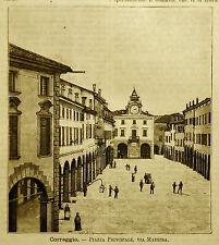 1891=CORREGGIO,PIAZZA PRINCIPALE VIA MAESTRA=ROMAGNA Xilo.Premoli.Passpartout