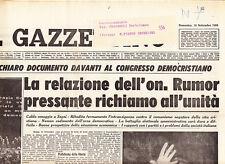 F1 IL GAZZETTINO N.208 DEL 13 SET 1964 - PRESSANTE RICHIAMO ALL'UNITA' DI RUMOR
