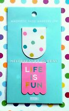 NEW! Kikki.K Magnetic Page Marker Bookmark Planner Accessory - Life is Fun