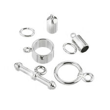 Barrel Shaped Kumihimo Findings Set (4mm) Silver Plate (K28/7)