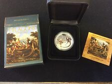 2012 Tuvalu $1 Dragons of legend, st george and the dragon, proof silver coin.