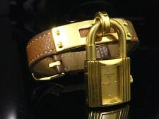 Authentic HERMES Kelly Watch Wristwatch Bracelet Women Brown Gold JUNK E223