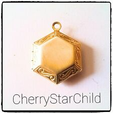 Vintage brass embossed locket for charm bracelet necklace pendant crafts photos