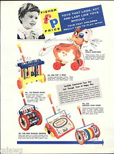 1956 ADVERT 4 PG Fisher Price Toys COLOR Donald Duck Stagecoach Chime Roller