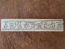 WHIPPER SNAPPER ROW OF 9 BUNNIES BORDER wood mtd rubber stamp -retired EASTER