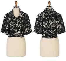 NEW Anthropologie Leifsdottir Midnight Passerine Wool Capelet Crop Jacket Bird L