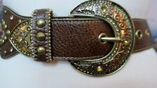 Kathy Van Zeeland! Wide Brown Leather Belt Large 34-38 Faux Diamond Bronze Studs