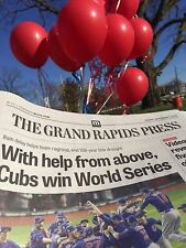 CHICAGO CUBS WORLD SERIES CHAMPS Grand Rapids Press NEWSPAPER WRIGLEY flytheW !!
