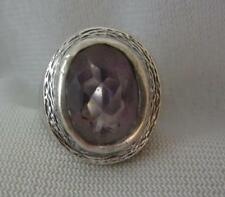 VTG 1975 DUBLIN IRELAND STERLING SILVER MODERNIST 4.5 CT AMETHYST RING  SIZE 6.5