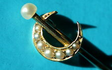 Antique Victorian 15ct Gold Seed Pearl Crescent Stick Pin