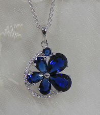 925 Silver w Midnight Blue & Crystal CZ Flower Design Pendant Necklace