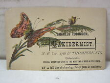 Vintage Charles Robinson Taxidermist Philadelphia, Pennsylvania Trade Card