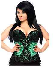 Daisy Corsets Women's Top Drawer Steel Boned Beaded and Lace Corset Green Small