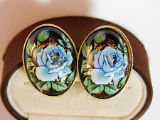 Vintage Enamel Blue Rose Flower Black Cabochon Clip on Button Earrings 4b 32