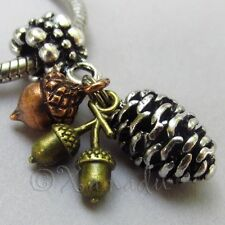 Fall Autumn European Pendant Charm With Silver Pinecone, Copper And Gold Acorns