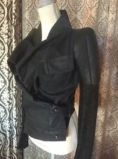 Rick Owens Strong Shoulder Robot Black Denim Leather Drape Jacket