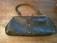 Vintage LETISSE Olive Green Leather Frame Handbag Purse Satchel