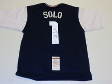HOPE SOLO autographed signed Team USA soccer blue/white Jersey JSA Witness