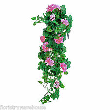 Artificial silk pink Geranium Bush 80cm hanging basket window box flowers