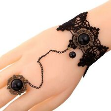 Slave Gothic Jewelry black Lace Flower Bead bronze Pendant Bracelet Chain Ring