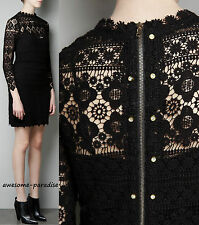 ZARA BLACK DRESS WITH GOLD ZIP STUDDED DIAMANTE CROCHET GUIPURE LACE MEDIUM - M
