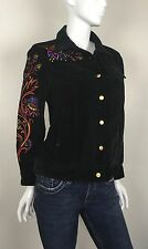 Bob Mackie Women's 100% Cotton Velvet Jacket Floral Embroidered Black Size Small