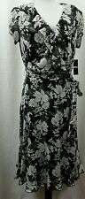 New SZ 10 MSK Woman's Black Floral Dress & Underslip Full Skirt Career Church