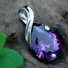 Sexy Women's Silver Purple Gemstone Amethyst Pendant Crystal Wedding Jewelry FT