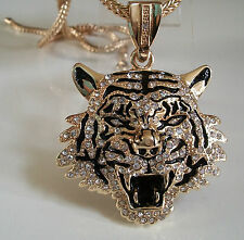 Gold finish Rapper style Hip Hop Bling Ice Out LION pendant with 36''  Chain